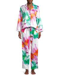 Natori Women's 2-piece Watercolor Floral Pyjama Set - Coral - Size M - Multicolour