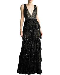Basix Black Label Sequin Tiered Gown - Black