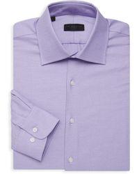 Ike Behar Men's Textured Long-sleeve Dress Shirt - Light Purple - Size 15 32