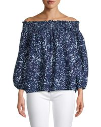 Nicole Miller - Women's Rocky Off-the-shoulder Top - Navy White - Size L - Lyst