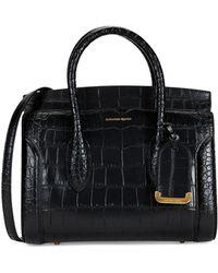 Alexander McQueen Heroine Crocodile Embossed Leather Shopper - Black