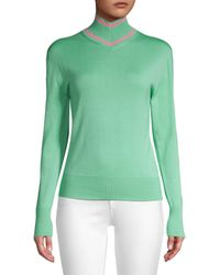 Maggie Marilyn Make A Difference Striped-trim Turtleneck - Green