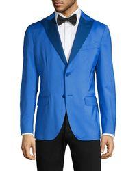 Boglioli Men's Single-breasted Peak Lapel Virgin Wool Jacket - Blue - Size 54 (44)