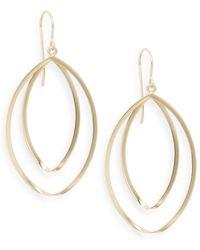 Saks Fifth Avenue - 14k Yellow Gold Double Hoop Twist Drop Earrings - Lyst