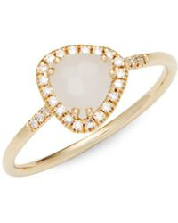 Suzanne Kalan - White Moonstone, Diamond And 14k Yellow Gold Ring - Lyst