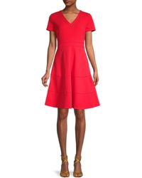 Karl Lagerfeld Scuba Crepe Lace Eyelet-trim A-line Dress - Red