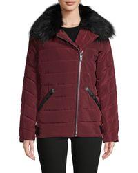 Karl Lagerfeld Faux Fur-trim Asymmetrical Puffer Jacket - Red