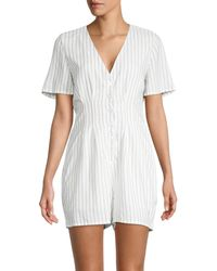 BCBGeneration Stripe Button-front Romper - White