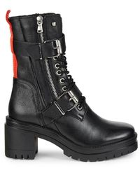 Charles David Clout Leather Combat Boots - Black