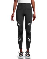 Chrldr Women's Skull-print Control-top Leggings - Black - Size M
