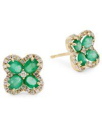 Saks Fifth Avenue 14k Yellow Gold, Emerald & Diamond Stud Earrings - Green