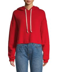 RE/DONE Cropped Cotton Hoodie - Red