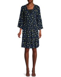 Sperry Top-Sider Floral A-line Tiered Dress - Blue