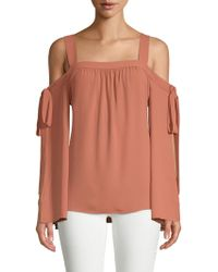 BCBGMAXAZRIA - Self-tie Cold-shoulder Blouse - Lyst
