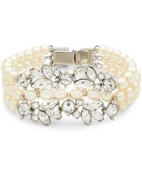 Ben-Amun - Three-row Faux Pearl And Swarovski Crystal Bracelet - Lyst