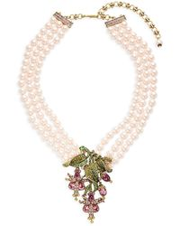 Heidi Daus Dripping Floral Three-strand Glass Pearl & Crystal Pendant Necklace - Multicolour