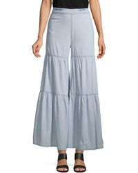 Free People Tiered Chambray Wide-leg Trousers - Blue