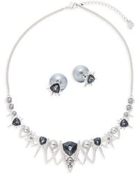 Swarovski - Crystal Statement Necklace & Stud Earrings Set - Lyst