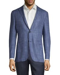 Corneliani Men's Double-face Silk Print Blazer - Cobalt - Size 54 (44) R - Blue
