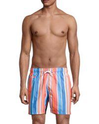 Trunks Surf & Swim Men's Sano Stripe Swim Trunks - Denim - Size L - Blue