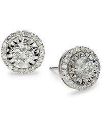Saks Fifth Avenue Women's 14k White Gold & 1.5 Tcw Illusion-set Diamond Stud Earrings - Metallic