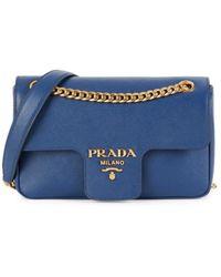 Prada Logo Saffiano Leather Crossbody Bag - Blue
