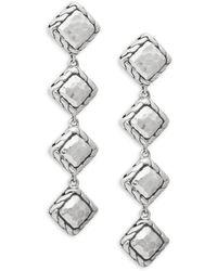 John Hardy Sterling Silver Linear Chain Drop Earrings - Metallic