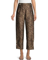 Mother Of Pearl Linnie Leopard-print Jacquard Pants - Brown