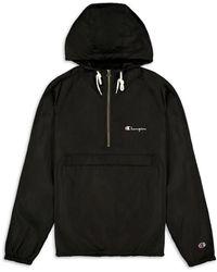 Champion Men's Half-zip Hooded Jacket - Navy - Size M - Blue