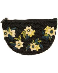 Sam Edelman Darcy Floral Embroidered Straw Bag - Black