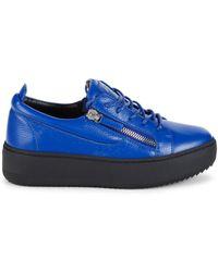 Giuseppe Zanotti Men's Leather Double-zip Platform Sneakers - Navy - Size 41 (8) - Blue