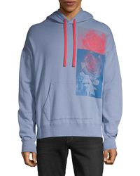 Ovadia And Sons Men's Rose-print Pullover Hoodie - Blue