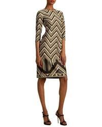 Trina Turk Women's Eastern Luxe Becket Chevron Dress - Grey Multi - Size 6 - Multicolour
