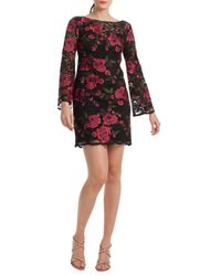 Trina Turk Women's Floral Embroidery Sheath Dress - Black - Size 0