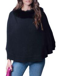 Portolano Women's Cashmere & Fox Fur-trim Poncho - Black