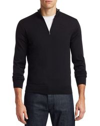 Saks Fifth Avenue Collection Wool & Silk Zip Sweater - Black