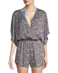 Green Dragon - Printed Kimono-sleeve Coverup - Lyst
