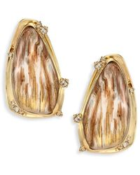 Alexis Bittar - Lucite Woodgrain Circle Clip-on Earrings - Lyst