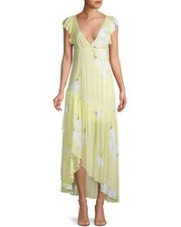 Free People Floral Waterfall Maxi Dress - Yellow