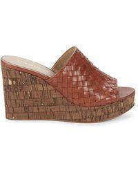 Etienne Aigner Women's Devin Woven Leather Platform Slides - Black - Size 9.5 Sandals