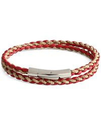 Tateossian Stainless Steel & Leather Braided Wrap Bracelet - Red