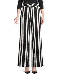 Alice + Olivia 'geo' Folded Waist Stripe Wide Leg Pants - Black