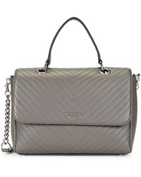 Karl Lagerfeld Charlotte Quilted Leather Satchel - Grey