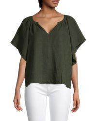 Velvet V-neck Linen Top - Green