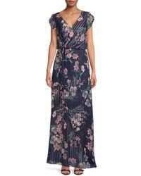 Kay Unger Tulip Sleeve Floral Dress - Blue