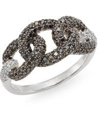 Effy Black Diamond, White Diamond & 14k White Gold Chainlink Ring - Multicolor