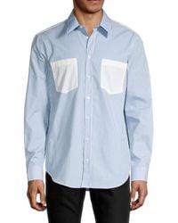Helmut Lang Stripe Logo-print Shirt - Blue