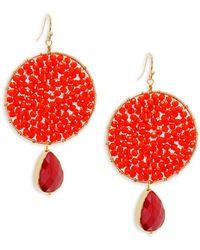 Panacea - Crystal Beaded Drop Earrings - Lyst