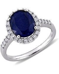 Saks Fifth Avenue 14k White Gold, Blue Sapphire & Diamond Ring - Multicolour