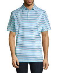 Peter Millar Morgan Striped Jersey Polo Shirt - Blue